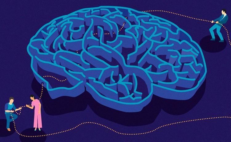 Piirroskuva labyrinttimaisista aivoista, joiden läpi kolme henkilöä vievät helminauhan näköistä ketjua.